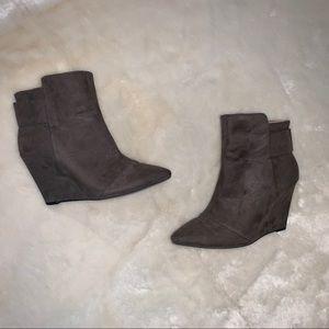 Zara Faux Suede Grey Wedge Booties Size 6